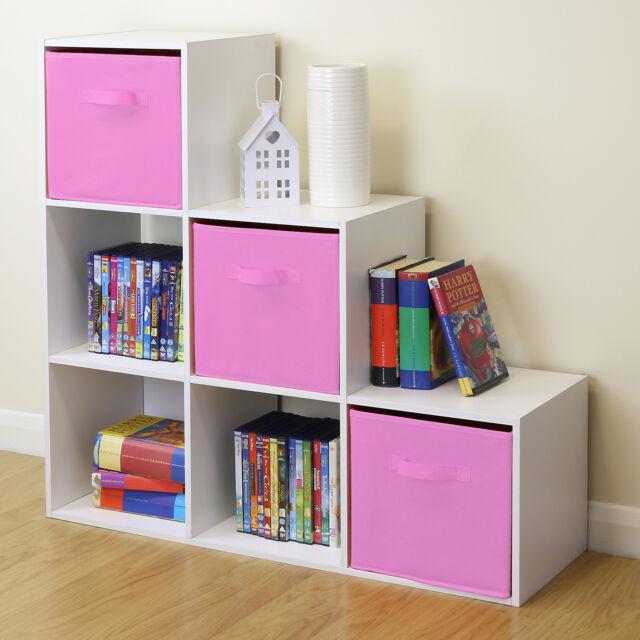 White 6 Cube Kids Toy/games Storage Unit Girls/boys Bedroom Shelves ...