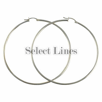 Sterling Silver 2mm Round Tube (Sterling Silver 2mm x 70mm Polished Hinged Hoop Earrings Round Hollow Tube)