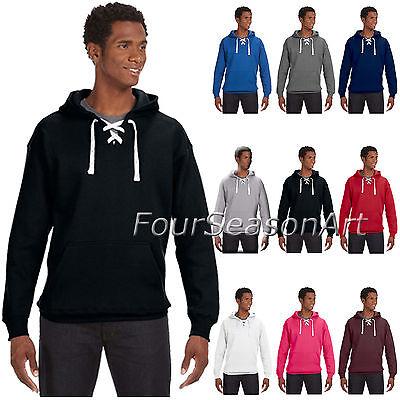 J. America Mens Sport Lace Hooded Sweatshirt Hockey  Hoodie XXS-3XL 8830-JA8830 America Mens Sport Lace