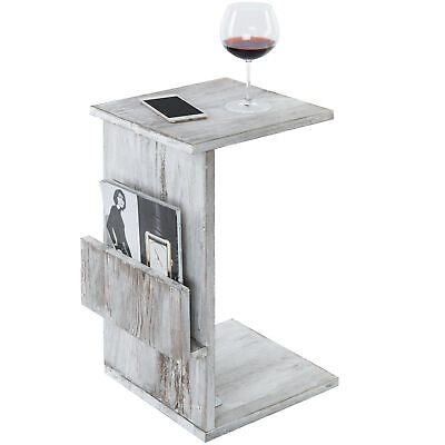 Rustic Torched White Wood Sofa Side Table with Magazine Holder and Sliding Tray