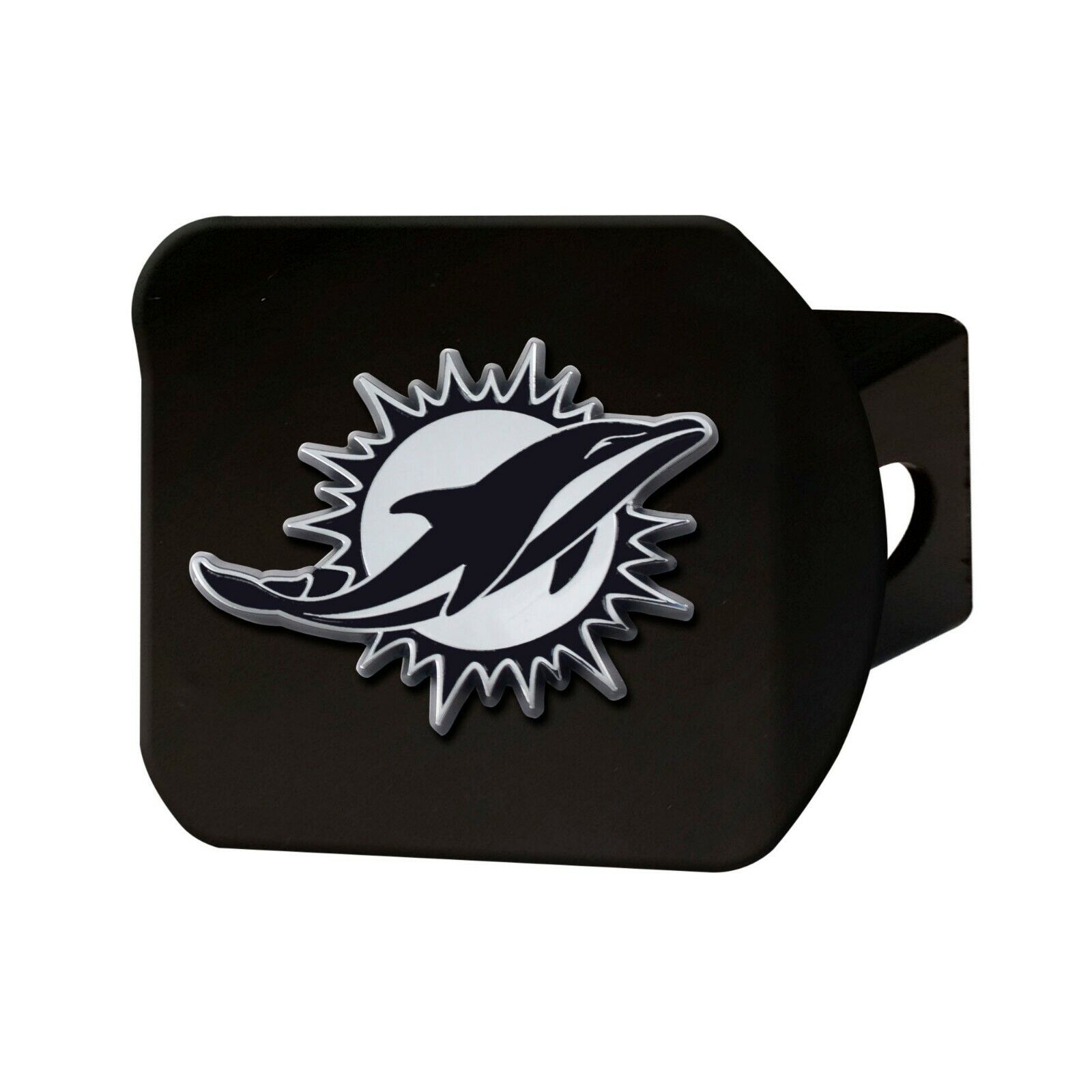 15602 NFL Miami Dolphins Metal Hitch Cover 2 Square Type III Hitch Cover Chrome FANMATS