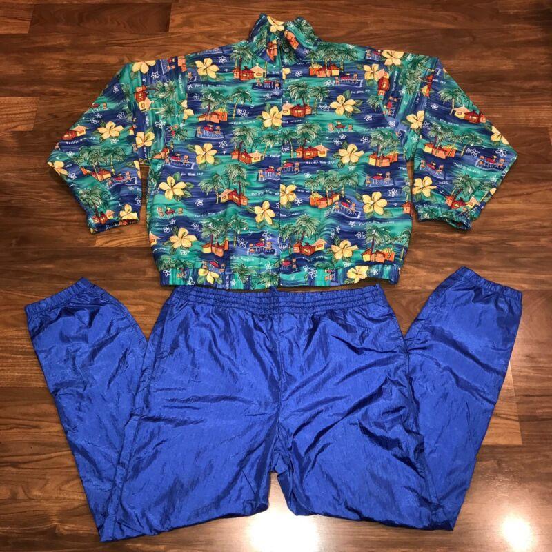 Vtg 80s 90s Womens LARGE Jogging 2 Piece Windbreaker TRACK SUIT Jacket Pants L