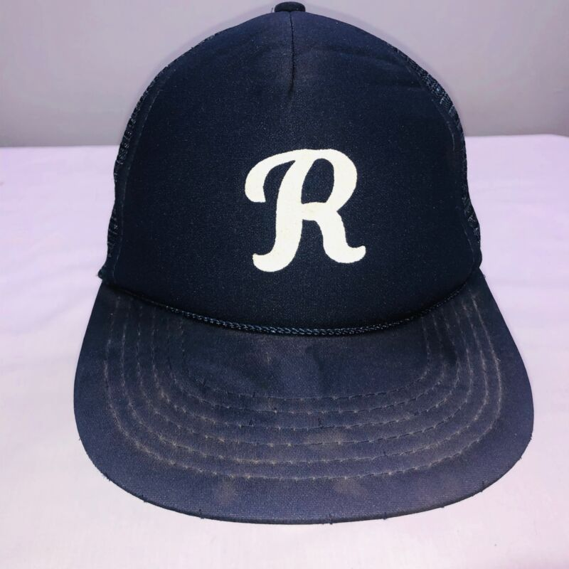 Vintage Truckers Snapback Nova Youth Hat Blue Letter R Baseball Team Boys Cap