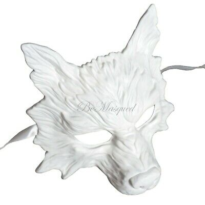 White Wolf Mask Half-Face Masquerade Halloween Costume Prom Cosplay Men Unisex (White Wolf Costume)