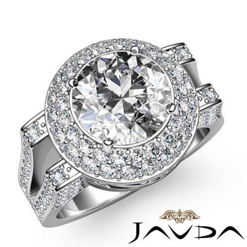 2.6ct Round Diamond Engagement 2 Row Halo Split Shank Ring GIA F VS2 Platinum