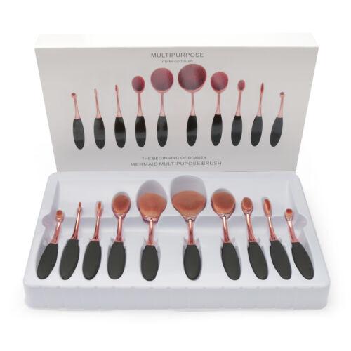 10Pcs Professional Oval Cream Makeup Brushes Set Kabuki Toothbrush Foundation