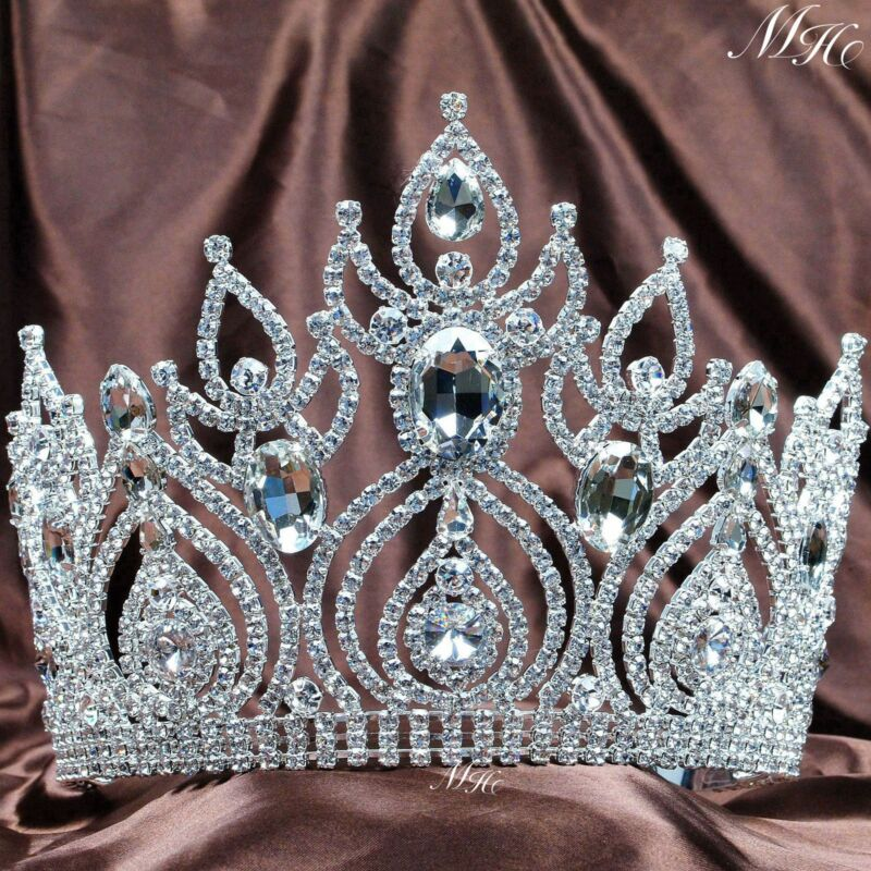 Large Wedding Tiara Crown Austrian Rhinestone Brides Headband Pageant Party Prom