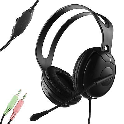 Voip Stereo Microphone Mic Headset - Durherm Stereo Headphone w/ Boom Microphone for Office Desktop Computers VOIP