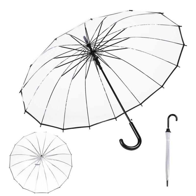 Regenschirm XXL transparent durchsichtig Golfschirm Partnerschirm Automatik groß