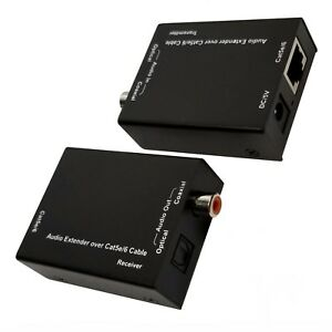 Digital Audio Extender Over CAT5e CAT6 Cable SPDIF RCA Coax + Optical Toslink
