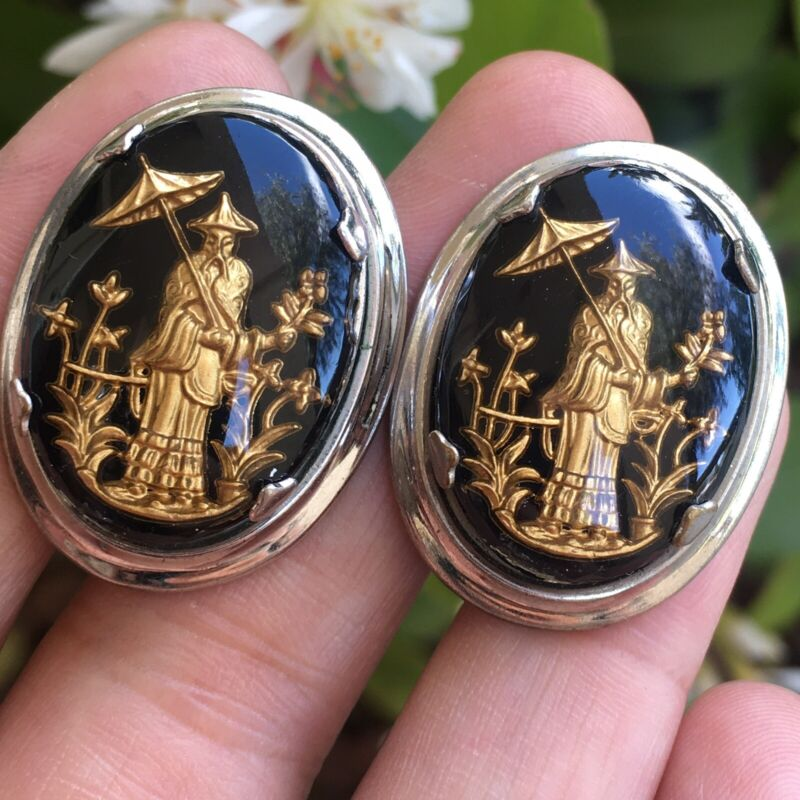 Vintage Rare Signed Oxford Lucite Ancient Asian Man Cufflinks Men Jewelry Lot C