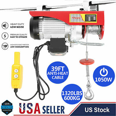 1320 Lbs Electric Wire Hoist Remote Control Garage Auto Shop Overhead Lift Hot