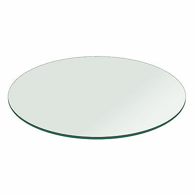 Fab Glass and Mirror Round Clear Glass Table Top with Flat P