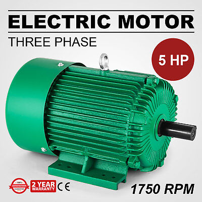 Electric Motor 5 Hp 3 Phase 1750 Rpm 1.125 Shaft 60 Hz Outdoors Waterproof