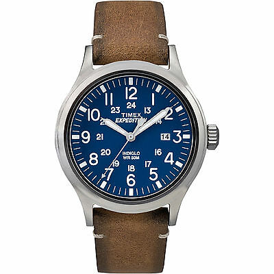 Timex Tw4b01800  Mens  Expedition  Brown Leather Watch  Scout  Tw4b018009j