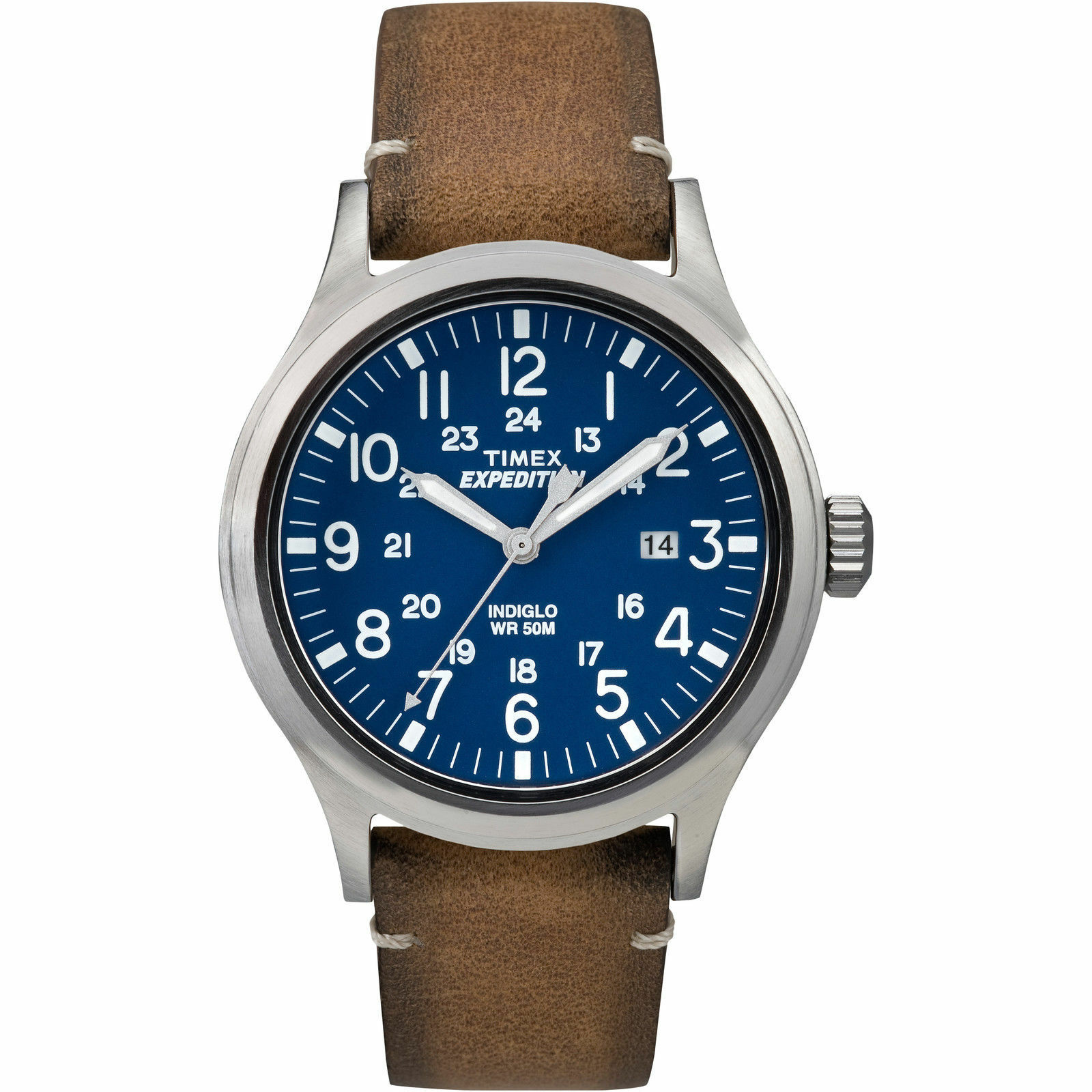 Timex TW4B01800, Men\s \Expedition\ Brown Leather Watch, Scout, TW4B018009J