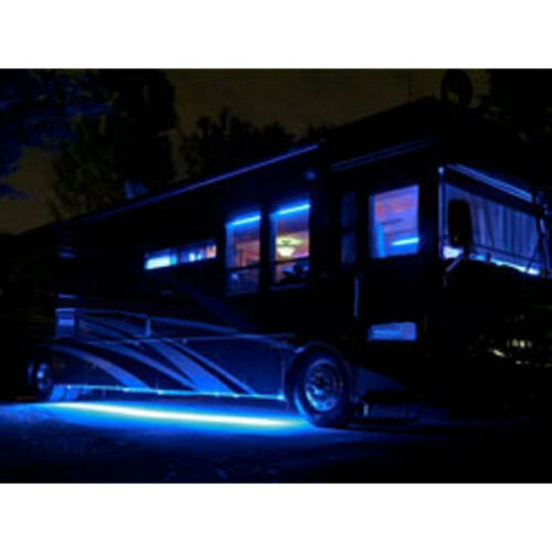 "4Pc 12"" Rv Motorhome Trailer 15 Blue LED Under Glow Waterproof Light Bulb Strips"