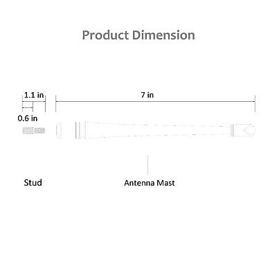 """Rydonair 4.7/"""" Antenna Mast Short Replacement for Ford F150 2009-2020"""