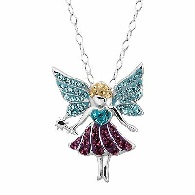 Fairy Pendant with Multi-Colored Crystals in Rhodium-Plated Sterling Silver