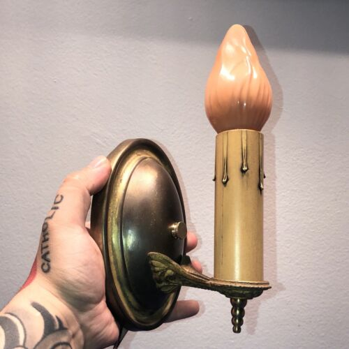 Single Brass Sconce Newly Wired Antique Fixture 71A - $300.00