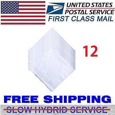 12 Pcs White Cotton Men Handkerchiefs Hanky Pocket Square Hankie Lot Set Vintage