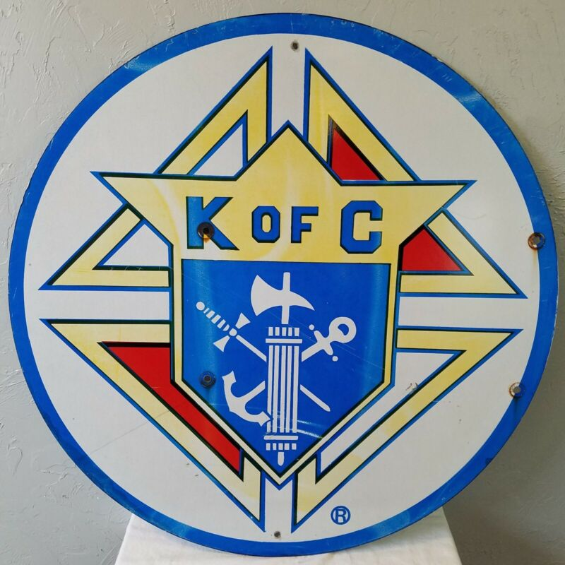 Large Vintage Colorful 30-Inch Metal Sign Advertising K of C Knights of Columbus