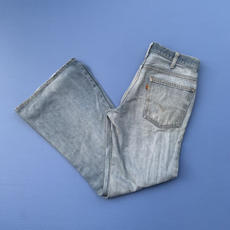 "Vintage Levi's 646 Bell Bottoms Flared Jeans Made In USA 1970s 33""x31.5"""
