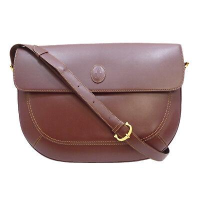 Authentic Cartier Must de Cross Body Shoulder Bag Bordeaux Leather #S204023
