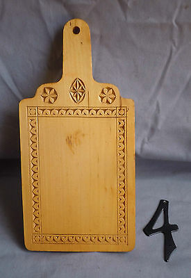 Vintage Chip Carved Solid Bass Wood Bread Board/Tray by George Fleming (#4)