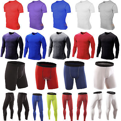 - Mens Compression Base Layer Thermal Skin Fitness T-Shirt Top Shorts Long Pants