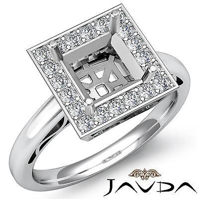 Halo Set Diamond Engagement Princess Semi Mount Filigree Ring Platinum 0.36Ct