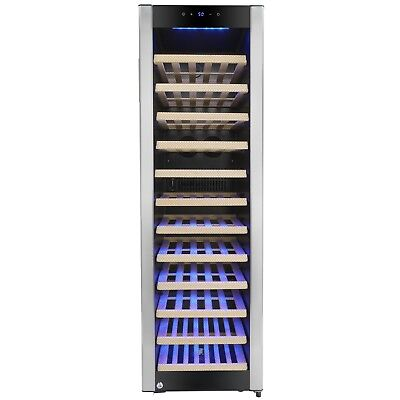 58 Bottle Single Zone Compressor Electric Wine Cooler Refrigerator Touch Control