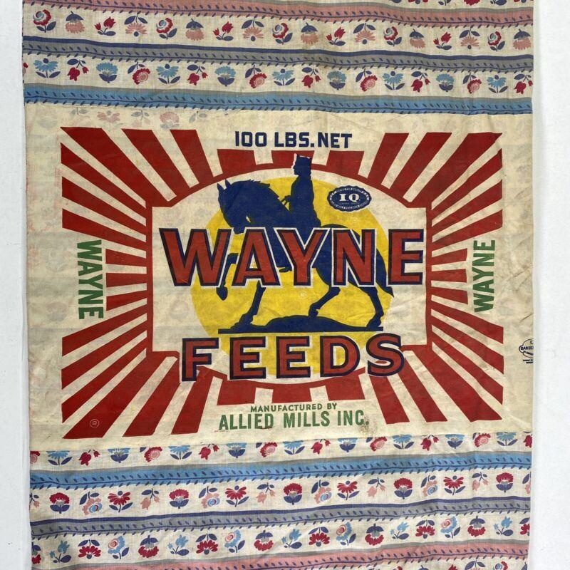 Vintage Large WAYNE Feeds Cloth Feed Sack Vibrant Bright Floral 100LB Sack