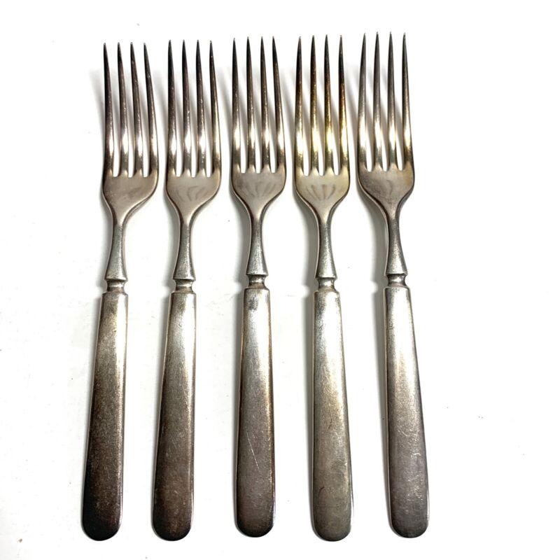 "5 Antique Vintage Collectible Forks 7.25"" LH Tonner Silver Plate 16 DWT"