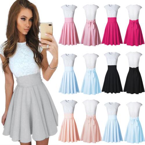 Damen Spitze Cocktail Mini Kleid Sommer Hochzeit Partykleid Tunika Skater Kleid