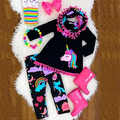 Unicorn Kids Baby Girls Outfits Clothes T-shirt Tops Dress +Long Pants 2PCS Set