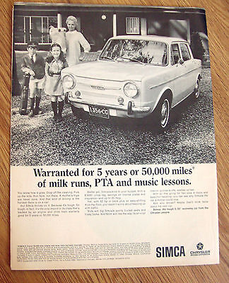 1967 Chrysler Simca 1000 Ad  Warranted for 5 Years 50,000 Miles