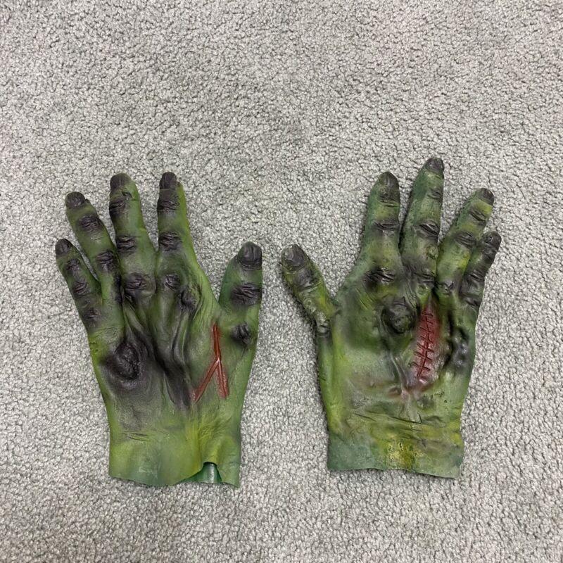 Vintage 80s Ben Cooper FRANKENSTEIN Green Monster Rubber hands Gloves Halloween