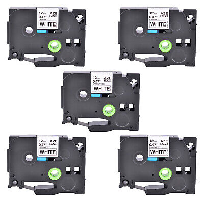 5pk Tz231 Black On White Label Tape Laminated For Brother P-touch Pt-h110 12