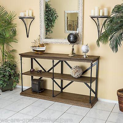 Home Office 3-Shelf Industrial Dark Khaki Wood Shelf Bookcase Console Table