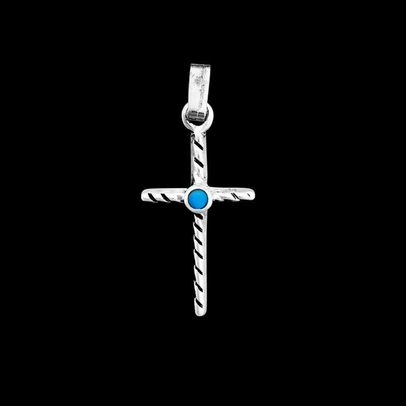 Twisted Cross Pendant, 925 Sterling Silver Pendant, Blue Resin, Religion, Christ