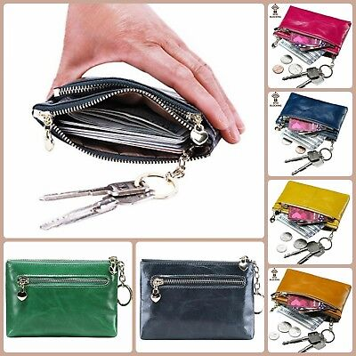 Rfid Blocking Wallet Leather Mini Coin Purse ID Document Card Holder Key Chain - Keychain Coin Purse