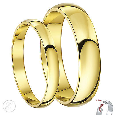 9ct Yellow Gold His & Hers 3mm & 5mm D Shape Wedding Rings    Solid & Hallmarked