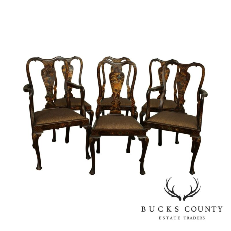 Antique Chinoiserie Painted Mahogany Set 6 Queen Anne Dining Chairs
