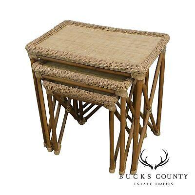 Rattan Bamboo & Woven Cord X Base Nesting Tables