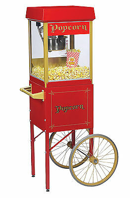 New Fun Pop 4 Oz. Popcorn Machine Matching Cart By Gold Medal - Choose Color
