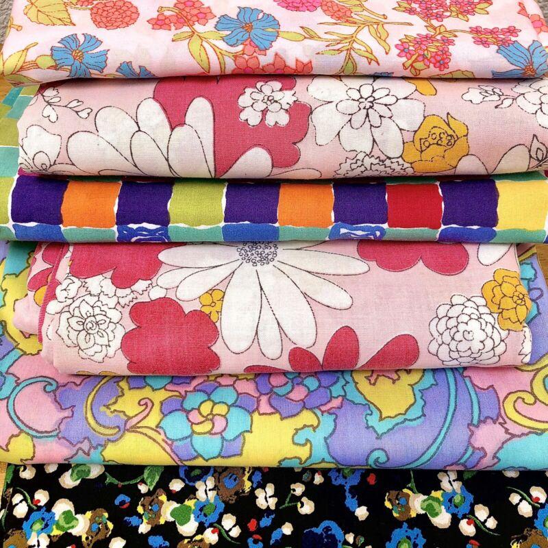 Bundle Vintage Cutter Fabric Lot 1960s 1970s Flower Power Mod Pink Blue Craft