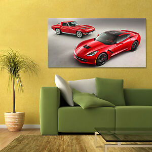 2014-CHEVROLET-CORVETTE-STINGRAY-W-CLASSIC-VETTE-LARGE-AUTOMOTIVE-POSTER-24x48