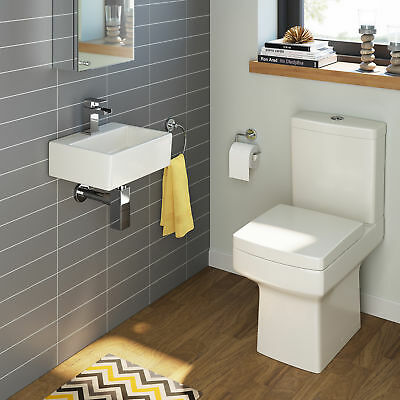 Complete Compact Bathroom Suite With Cloakroom Basin And Square Toilet BS3899