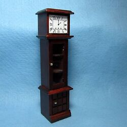 Dollhouse Miniature Grandfather Clock with Curio Cabinet ~ Mahogany  WF023M